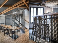 The industrial character is added to the interior by suspended shelves and the structure of the bar, on which there are tiles with geometric patterns, which smoothly join the oak pavement.