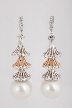 Cultured South Sea Pearl Dangle Earrings 18k Rose and White Gold - Bashinski Fine Gems and Jewelry