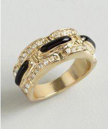Adia Kibur gold metal and black pave crystal link ring