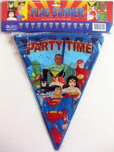 JUSTICE LEAGUE HAPPY BIRTHDAY BANNER ~ Vintage Party Supplies DC Comics JLA