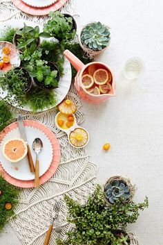 Impress guests and host the best summer party with our colorful, creative summer tablescapes. From outdoor table setting themes to centerpieces, let warm-weather table decor inspire your summer gatherings. Photobooth Ideas, Outdoor Table Settings, Herb Pots, Prop Styling, Food Photography Styling, Tabletop Photography, Deco Table, Decoration Table, Dinner Table
