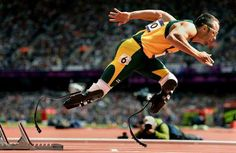 South Africa's Oscar Pistorius, aka the 'Blade Runner' because of his carbon-fiber prosthetics, takes off from the starting blocks in the first round of heats for the 400-meter race at the London Olympics... (2012)