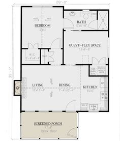 Cottage Plan: 793 Quadratmeter, Schlafzimmer, 1 Badezimmer - Source by rissiepitv Guest House Plans, Small Cottage House Plans, 2 Bedroom House Plans, Small Cottage Homes, Small House Floor Plans, Cottage Floor Plans, Cottage Plan, Tiny House Cabin, New House Plans