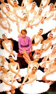 Diana surrounded by the ballerinas from the English National Ballet, of which she was patron