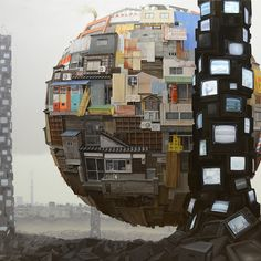Sashie imagines the world in which there is no distinction between the natural world and the man-made, where massive assemblages far exceed the functionality of their component parts, and where there is beauty to be found even in landfill sites and appliance wastelands...