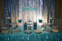Sweet 16 candy station for Cinderella theme party. Decorated in turquoise silver & white. Sweet 16 candy station for Cinderella theme party. Decorated in turquoise silver & white. Sweet 16 Themes, Sweet 16 Decorations, Quince Decorations, Quinceanera Decorations, Birthday Decorations, Silver Decorations, Cinderella Sweet 16, Cinderella Party, Blue Birthday