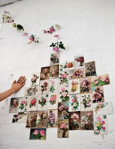 looks like unframed rose prints just pinned on the wall...how neat is that...?