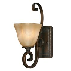Golden Lighting Meridian 1 Light Wall Sconce in Golden Bronze with Sq. Antique Marbled Glass