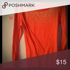 Rhinestone shirt This shirt is red and has rhinestone on it Cato Tops Tees - Long Sleeve