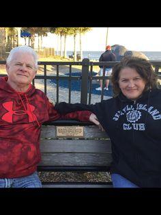 3/6/16 Bob & I, sitting on Richard's bench at the children's playground on St Simons Island Ga