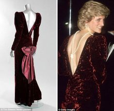 The bow on the back of a Catherine Walker burgundy crushed velvet evening gown worn for a State visit to Australia by Britain's Princess Diana.
