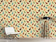 Design #Tapete Schnatter Gans Cottage, Curtains, Shower, Prints, Design, Home Decor, Self Adhesive Wallpaper, Wall Papers, Deco