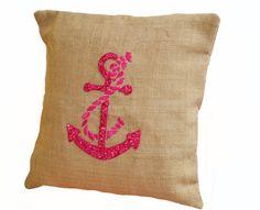 Hot Pink Cute Anchor throw pillows- Nautical pillow covers- Beach pillows - Burlap pillows -Embroidered Pillow -Nautical cushion cover 16X16