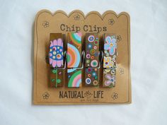 Chip Clips ArtsyCrafty Painted Clothespin Clips Natural Life Give Love Laugh