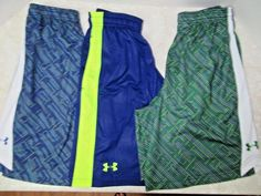 Lot 3 Men's UNDER ARMOUR Loose Athletic Gym Shorts Sz Small Blue Green Workout…
