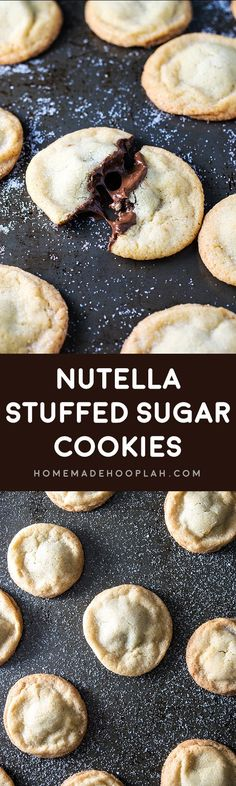 Nutella Stuffed Sugar Cookies! Old fashioned soft and chewy sugar cookies stuffed with creamy chocolate and hazelnut Nutella. Trust me, this combination is as delicious as it sounds! | HomemadeHooplah.com