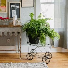 3R Studios Vintage Laundry Basket with Wheels