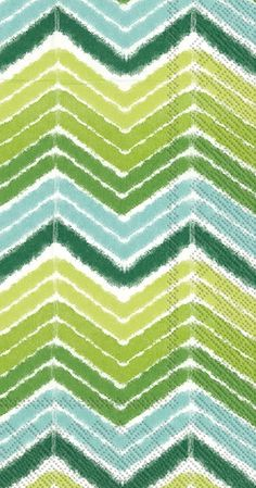 IHR Ikat Stripe Green Chevron Theme Printed 3-Ply Paper Guest Towels Wholesale BF603120