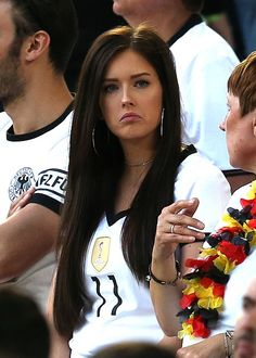 Lena Terlau girlfriend of Julian Draxler of Germany looks on during the UEFA Euro 2016 Quarter Final match between Germany and Italy at Nouveau Stade. Hot Football Fans, Football Girls, World Football, Soccer Fans, Fifa, Nfl Cheerleaders, Cheerleading, Julian Draxler, Hot Fan