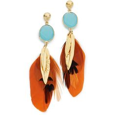 GAS Bijoux Serti Plume Earrings ($180) ❤ liked on Polyvore featuring jewelry, earrings, orange multi, dangle earrings, gas bijoux, earrings jewelry, dangle feather earrings and polish jewelry