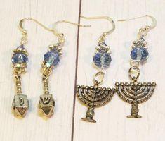 Happy Hannukah, Festival Lights, Menorah, Religious Jewelry, Handmade Design, Hanukkah, Lead Free, Jewelry Gifts, Swarovski Crystals