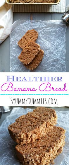 Wheat flour, applesauce, and yogurt make a delicious, moist banana bread with an optional crumb topping.