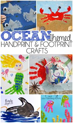Ocean Themed Handprint and Footprint Crafts - I Heart Arts n Crafts Ocean Themed Handprint & Footprint Crafts Should you have a passion for arts and crafts an individual will love this site! Ocean Theme Crafts, Sea Crafts, Ocean Themes, Baby Crafts, Cork Crafts, Paper Crafts, Toddler Art, Toddler Crafts, Footprint Art