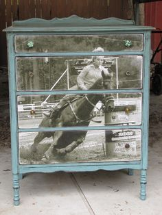 wood transfer ~ would love to do this with some of my father's western pictures. Love this ideato wood transfer ~ would love to do this with some of my father's western pictures. Love this idea Dresser Furniture, Furniture Projects, Furniture Makeover, Painted Furniture, Diy Furniture, Diy Projects, Painted Dressers, Refurbished Dressers, Cabin Furniture