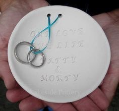 personalized ceramic ring bearer bowl:  How cool is that?
