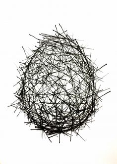 Untitled #3 (Extended Lines Drawn from 300 Points on an Ovoid to 3 Closest Neighing Points at 100mm/s), Andrew Kudless, 2014, Robotic Drawin...