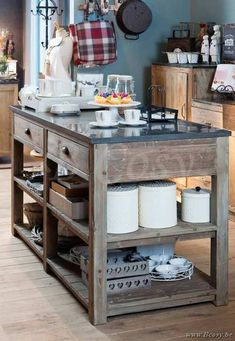 Lee&Lewis Kitchen Keukentafel 2 Lades 2 Legplanken Oud Dennehout Natuur En Natuurstenen Blad 170