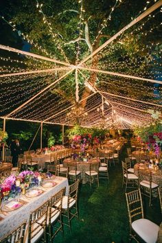 Twinkle string lights at outdoor tent wedding reception