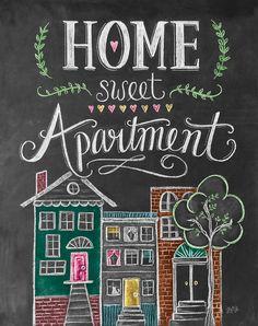 Home Sweet Apartment Print Chalkboard Art Modern by LilyandVal