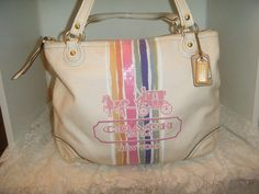 COACH POPPY 19615 Legacy Stripe Glam Tote Handbag. Starting at $40 http://tophatter.com/auctions/49744-all-coach THURSDAY 10/30/14