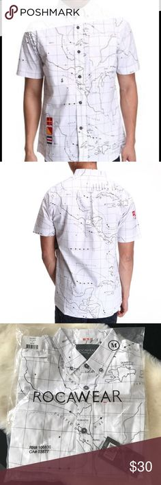 Rocawear 'Run the Map' Shirt The Run the Map SS button-down is 100% Cotton and features an all-over map design in the front. There's also a couple of flag patches and a Rocawear logo that add some color and sophistication to the shirt. Rocawear Shirts Casual Button Down Shirts