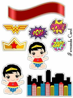 Hero Of The Day, Unisex Baby Shower, Cake Templates, Baby Scrapbook, My Childhood, Cake Toppers, Banner, Clip Art, Wonder Woman
