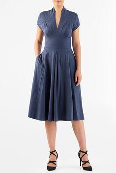 Feminine pleated cotton knit dress