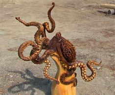 octopus carved from single block of wood