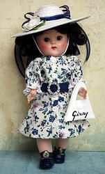 "~ViNTaGe DaYs~..a dress, belt, hat, & purse in vintage style for Ginny & Muffie 7.5""DoLLs. Fits Madame Alexander and Ginger dolls also. Consists of the hand tailored vintage styled dress, belt with ""bling"" buckle, reproduction Ginny purse, and the wide brim hat handcrafted with love and navy ribbons for your doll. A sweet set and available on www.karmelapples.com for instant purchase at 37.50.. Click on picture to take you to the outfit."
