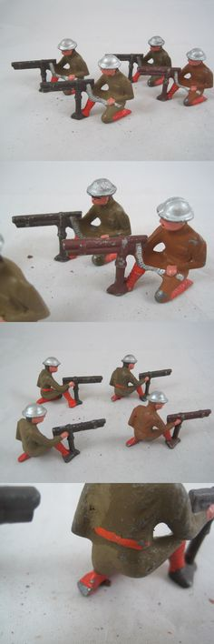 Pre-1970 734: Lot Of 4 Vintage Cast Lead Wwi Army Soldier Figures Kneeling Machine Gun Br Gr -> BUY IT NOW ONLY: $30 on eBay!