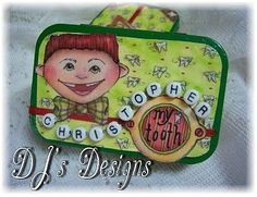 Dee Dee's Craft Spot: Tooth Fairy Boxes in a Tin Tooth Fairy Box, Tooth Fairy Pillow, Altered Tins, Cute Crafts, Crafts For Kids, Fundraising Crafts, Mint Tins, Tin Art, Tejidos