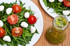 Arugula Salad with Fresh Mozzarella, Tomato, and Basil Vinaigrette Mozzarella Salad, Fresh Mozzarella, Appetizer Salads, Appetizer Recipes, Healthy Salad Recipes, Veggie Recipes, Basil Vinaigrette Recipe, Vinegar Salad Dressing, Arugula Salad