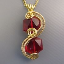 MTS red glass crystal creation | One-of-a-kind | Quality non-tarnish gold wires from US | Dimension 2cm x 5cm.  Complimentary gold oxidized nickel-free non-tarnish chain at 55cm long with handmade clasp. (beaded chain in picture for sample only) Removable and interchangeable with MTS pendants/w...