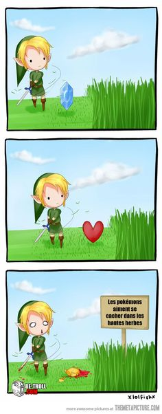 All I know is I would be mowing the lawn all the time if I lived in Hyrule and you cpuld never mow your lawn around pallet town 🎮 Zelda, Pokemon, Video Game Meme, Funny Gaming The Legend Of Zelda, Legend Of Zelda Memes, Humor Videos, Video Humour, Troll, Pokemon Memes, Pokemon Stuff, Otaku, Humor Grafico