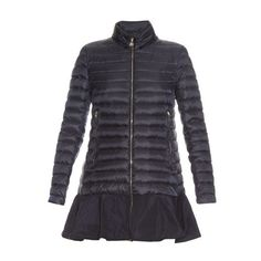 Moncler Daurade quilted-down coat (1'145 CHF) ❤ liked on Polyvore featuring outerwear, coats, navy, peplum coat, down coats, navy blue down coat, navy blue coat and navy quilted coat