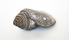 """Flower Shell - Stoneware. 6"""" x 13""""  #doodle"""