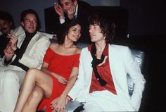 "thegoldenyearz: ""Designer Halston, Bianca Jagger and Mick Jagger by Richard Corkery at Studio 54, 1977 """
