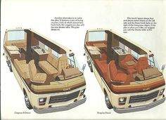 This is probably one of the last brochures printed by GMC Motorhome Interior, Gmc Motorhome, Camper Caravan, Camper Van, Mercedes Camper, Classic Gmc, Rv Floor Plans, Hymer, Gmc Vans