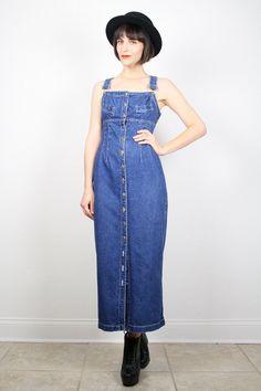 Vintage Overalls Dress Blue Denim Dress Blue by ShopTwitchVintage