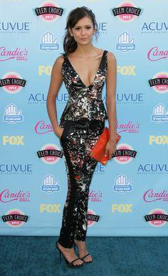Teen Choice Awards Fashion: Nina Dobrev & Shay Mitchell Take The Pl. Teen Choice Awards 2013, Shay Mitchell, Nina Dobrev, Red Carpet, Peplum Dress, Choices, Indie, Cute Outfits, Formal Dresses